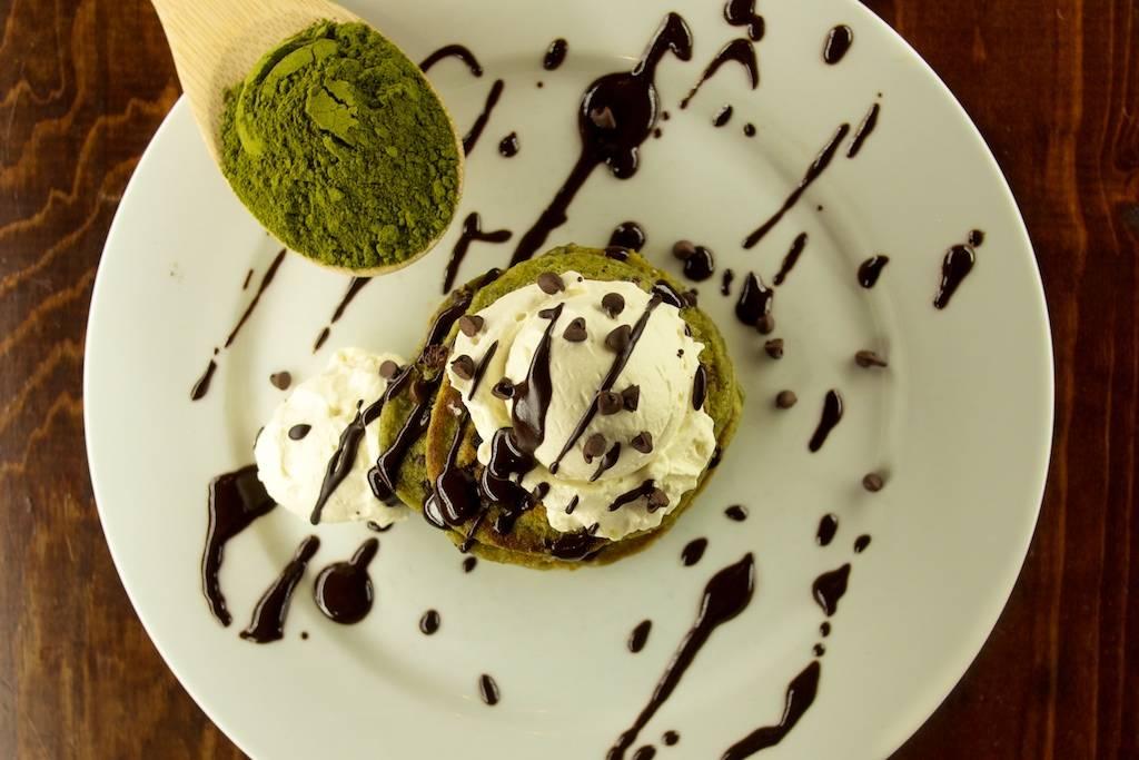 Mini Mint Moringa Chocolate Chip Pancakes with Healthy Chocolate Sauce