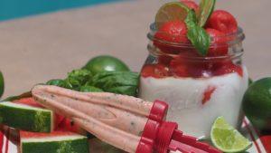 Basil Moringa Watermelon-Limeade Popsicle