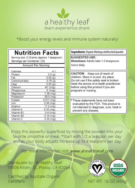 moringa powder back label