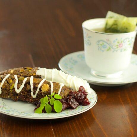 Moringa Scones with Tangerine, Coconut and Chocolate Bits