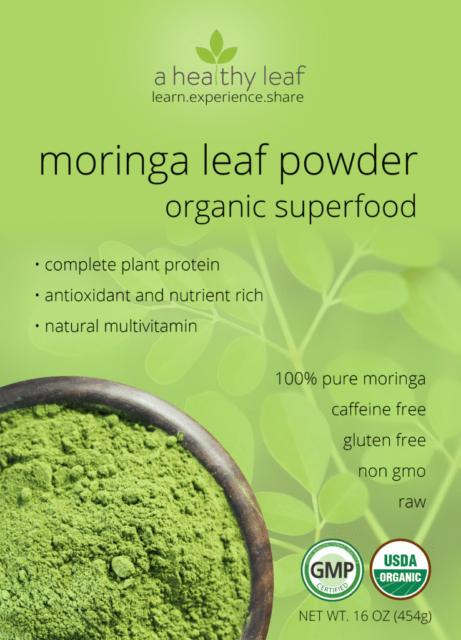 moringa powder back front
